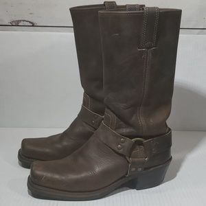 Frye Distressed Leather Harness Boots sz 8M